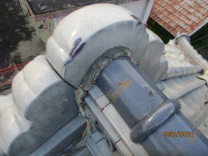 瓦屋根の漆喰工事前